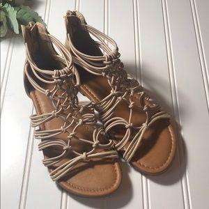 Justice gladiator sandals size 3